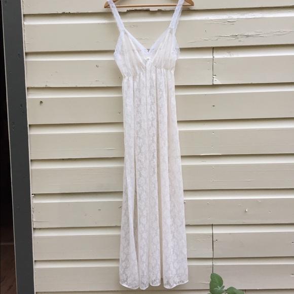 5a8b1cdb6f08 Vintage Intimates & Sleepwear   Vntg Sheer Lace Boho Nightgown ...